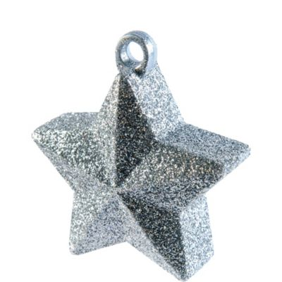 Silver Glitter Star Balloon Weight 6oz