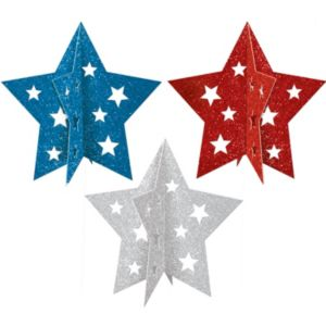 3D Glitter Patriotic Star Centerpieces 3ct