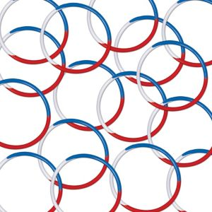 Patriotic Red, White & Blue Rubber Bracelets 16ct
