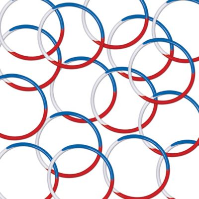 Red, White & Blue Rubber Bracelets 16ct
