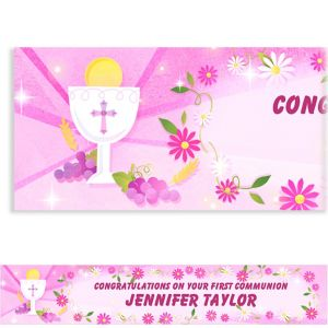 Custom Pink First Communion Banner 6ft