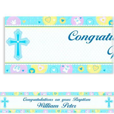 Sweet Christening Boy Custom Banner