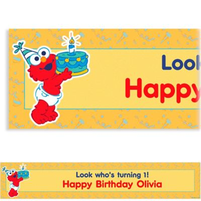 Custom Elmo First Birthday Banner 6ft