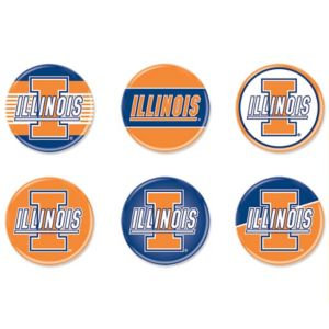 Illinois Fighting Illini Buttons 6ct
