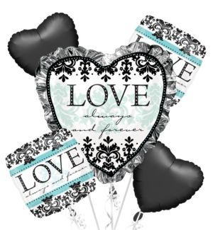 Bridal Shower Balloon Bouquet 5pc - Always & Forever