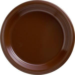 Big Party Pack Chocolate Brown Plastic Dinner Plates 50ct