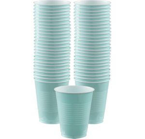 BOGO Robin's Egg Blue Plastic Cups 16oz 50ct