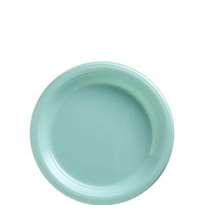 Robin's Egg Blue Plastic Dessert Plates 50ct