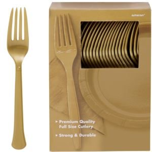Big Party Pack Gold Premium Plastic Forks 100ct