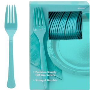 Big Party Pack Robin's Egg Blue Premium Plastic Forks 100ct