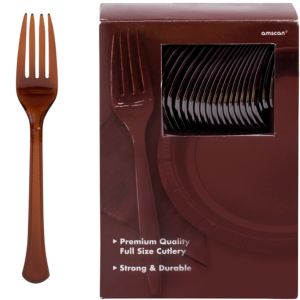 Big Party Pack Chocolate Brown Premium Plastic Forks 100ct
