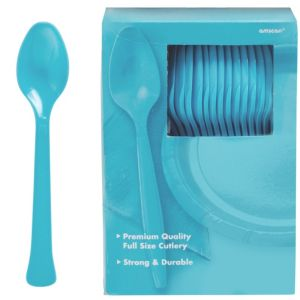 Big Party Pack Caribbean Blue Premium Plastic Spoons 100ct