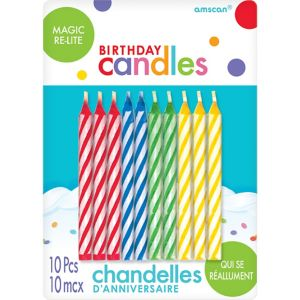 Multicolor Magic Re-Lite Spiral Birthday Candles 10ct