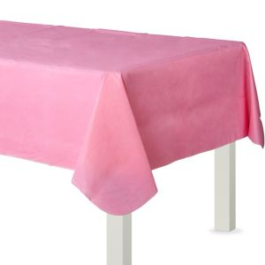 Pink Flannel-Backed Vinyl Tablecloth