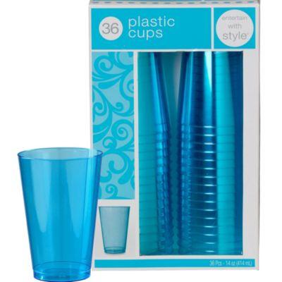 Caribbean Blue Premium Plastic Tumblers 36ct