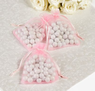 Light Pink Organza Wedding Favor Bags 24ct