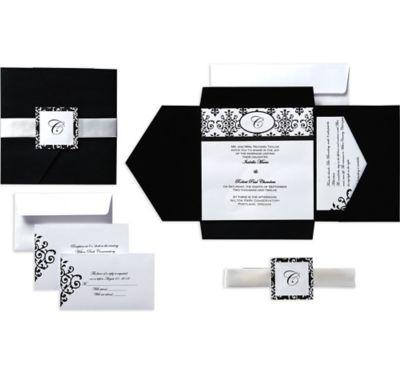 Black & White Scroll Square Pocket Printable Wedding Invitations Kit 25ct