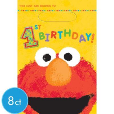 1st Birthday Sesame Street Favor Bags 8ct