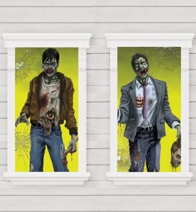 Killer Zombie Window Decorations 2ct