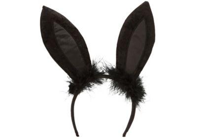 Black Marabou Bunny Ears