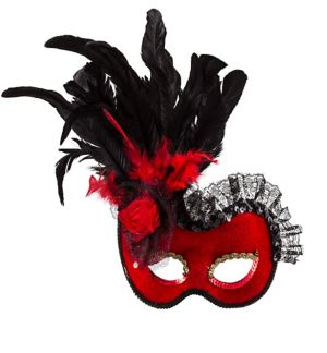 Red Lolita Feather Masquerade Mask
