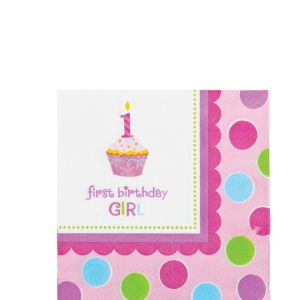 Pink Sweet Little Cupcake Beverage Napkins 36ct