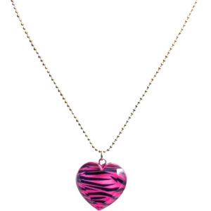 Zebra Heart Charm Necklace