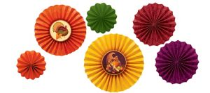 Thanksgiving Paper Fan Decorations 6ct