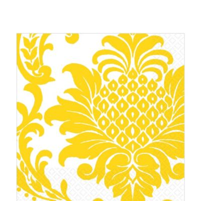 Yellow Damask Lunch Napkins 16ct