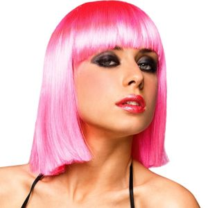 Neon Pink Blunt Bob Wig with Bangs