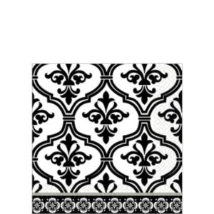 Damask & Polka Dot Wedding Beverage Napkins 36ct