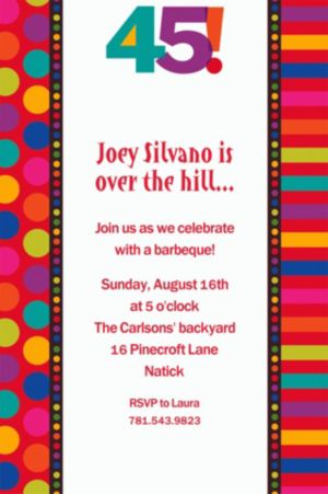 Custom Birthday Dots & Stripes 45th Invitations