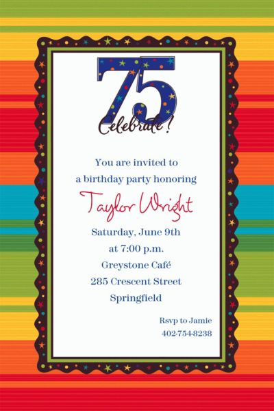 Custom A Year to Celebrate 75th Invitations