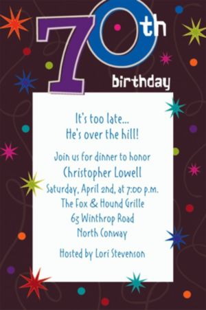 Custom The Party Continues 70th Invitations