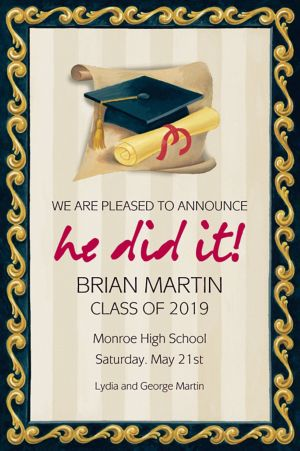 Custom Black Grad Portrait Graduation Announcements