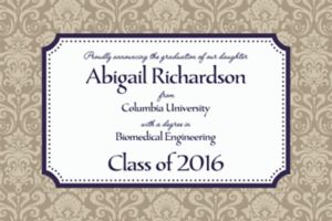 Custom Navy Classic Damask Border Graduation Announcements