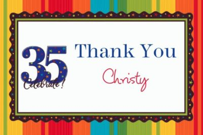 Custom A Year to Celebrate 35th Birthday Thank You Notes