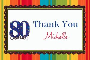 Custom A Year to Celebrate 80th Thank You Notes