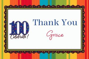 Custom A Year to Celebrate 100th Birthday Thank You Notes