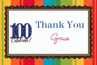 A Year to Celebrate 100 Custom Thank You Note