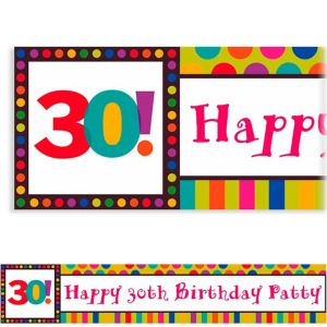Custom Birthday Dots & Stripes 30th Birthday Banner 6ft