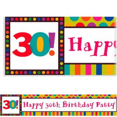 Birthday Dots & Stripes 30 Custom Banner 6ft