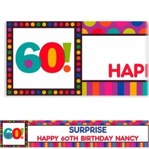 Custom Birthday Dots & Stripes 60th Banner 6ft