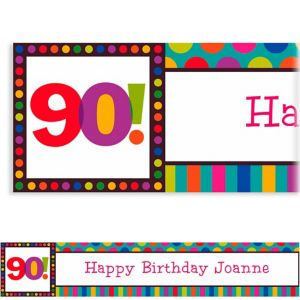 Custom Birthday Dots & Stripes 90th Banner 6ft