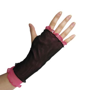 Pink and Black Double Mesh Fingerless Gloves