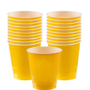 Yellow Plastic Cups 20ct
