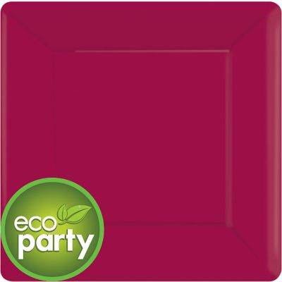 Eco Friendly Raspberry Square Paper Dinner Plates 20ct