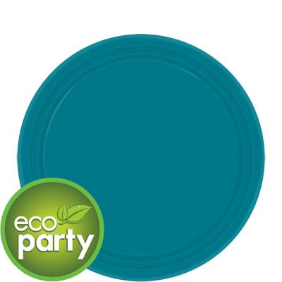 Eco Friendly Peacock Blue Round Paper Dessert Plates 7in 24ct