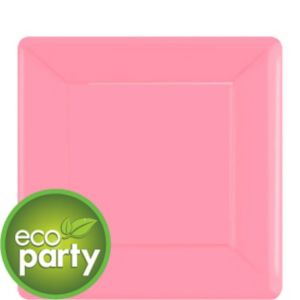 Eco-Friendly Pink Paper Square Dessert Plates 20ct