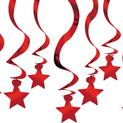Red Hanging Swirl Decorations 24in 30ct